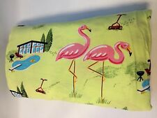 Vintage Nick & Nora Cotton Jersey Twin Flat Sheet Pink Flamingos PoolSide