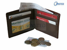 Luxury Mens Brown Leather Wallet 6 Card & 3 Note Holders Hipster Bi-Wallet W0020