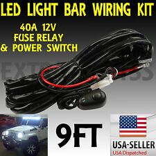 9ft 40A 12V Power Switch & Relay Wiring Harness Kit for LED Light Bar Offroad