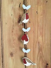 Christmas Garland / Sign / Plaque - Robin  - Shabby Chic Wall Door Decoration