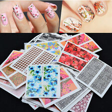 50pcs Lots Mixed Flower Pattern Nail Art Decal Water Transfer Sticker Decoration
