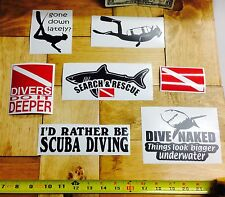 Scuba Diving DECALS (7) vinyl sticker diver dive shark rescue deeper regulator