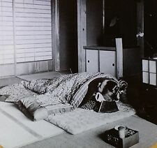 Japanese Bed (Futon) and House Interior, Japan, Magic Lantern Glass Photo Slide
