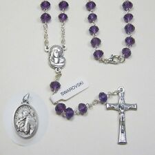 Italian Cut Crystal Oval - Small Rosary - Amethyst Bonus St Anthony Relic Medal