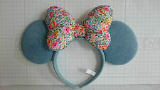 TOKYO DISNEY Resort Headband MINNIE Blue EARS FLOWER BOW Hair Costume Adult