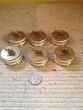 6 Vintage Mother Of Pearl Brass Round Trinket Lidded Box With Elephant Lot