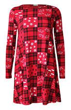 Womens Christmas Swing Dress Ladies Xmas Santa Snowflake Novelty Skater Dress