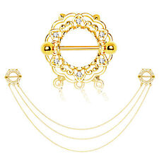 Gold Plated Triple Chain Floral Nipple Shields 14GA 3/4""
