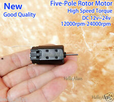 DC 12V-24V 24000RPM High Speed Large Torque 5-Pole Rotor Black Micro Brush Motor