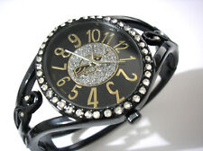 Iced Out Bling Bling Hip Hop Baby Phat Cuff Ladies Watch Black