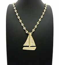 """ICED OUT LIL YACHTY'S CZ YACHT PENDANT W/ 5mm 24"""" MARINA CHAIN HIP HOP NECKLACE"""