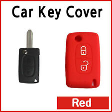 CAR KEY COVER SILICONE CASE HOLDER PEUGEOT 207 307 308 407 REMOTE FLIP KEY RED