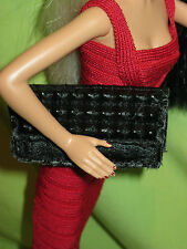 BARBIE Doll Size HERVE LEGER Fashion BLACK STUDDED CLUTCH Faux Leather Purse