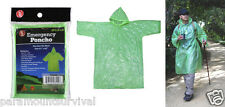 Green Emergency Rain Poncho Camping Hiking Sport Bug-Out-Bag Disaster Outdoor