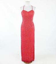 Red over light orange MIA BELLA spaghetti strap heavily beaded formal dress S