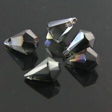 3pcs 9x14mm Flat Base Swarovski  teardrop crystal beads B Transparent Black