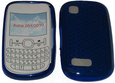 For Nokia Asha 201 / 2010 Pattern Gel Case Cover Protector Pouch Blue New UK