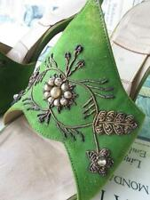 Beautiful Vintage Emerald Green Hand Embroidered Goldwork Mules Shoes- Saxone