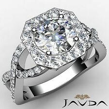 Round Diamond Halo Curve Shank Engagement Ring GIA F VS1 18k White Gold 2.13ct