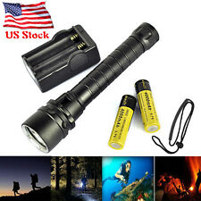 US 8000LM 3xXM-L2 LED Scuba Diving Flashlight  Fishing Torch 18650 charger 100m