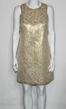 NEW Maggy London Size 8P Dress Sleeveless Beaded Metallic Floral Brocade Shift