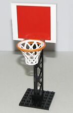 LEGO CUSTOM MADE NBA BASKETBALL HOOP RED BACKBOARD BLACK BASE AND NET