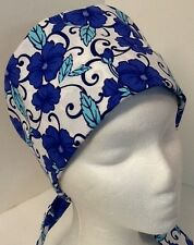 Aqua & Blue Floral Pixie OR Scrub Cap Surgical Surgery Hat