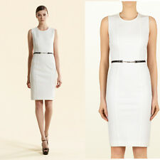sz L NEW $1800 GUCCI White Jersey LEATHER HORSEBIT BELTED Spring Shift DRESS 6/8