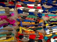 LARGE LOT OF DIFFERENT COLOURED EMBROIDERY THREADS