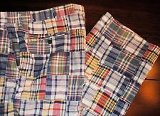 ORVIS Blue Red Green Yellow Madras Patchwork Plaid Lined Pants Sz 38x34 USA Made