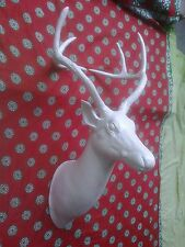 Large Metal Wall Mounted Stag Head Deer Off White HOME DECOR EDH