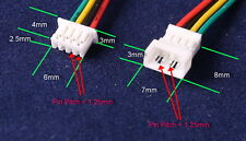 Micro JST 1.25mm GH PH  4-Pin Male & Female Connectors 100mm Wires FreeP&P UK