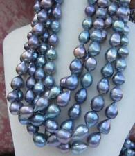 "50"" HOT Huge 11-14mm SOUTH SEA black blue baroque pearl necklace 14K Gold clasp"