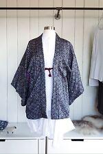 Vintage Japanese Indigo & White Textured Silk Haori Kimono S/M