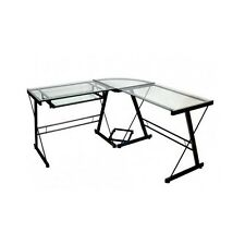 Corner Desk Glass Table Office Studio Furniture Student Computer L Shape Black A