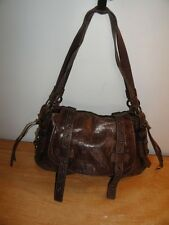 Lovely Dark Brown Distressed Leather MICHELE MHB2002 Mid-Sized Satchel Hobo Bag
