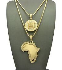 """ICED OUT 3D PYRAMID & AFRICA MAP PENDANT 2mm/24"""" & 30"""" BOX CHAIN NECKLACE RC1768"""