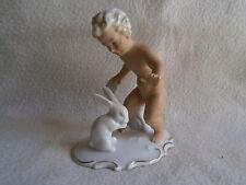 Antica guarda Bach-ARTE-Wallendorf-PORCELLANA personaggio ragazzo con lepri