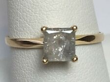 Natural 0.72ct Diamond Engagement 14k Gold Ring Princess Cut Solitaire Vintage