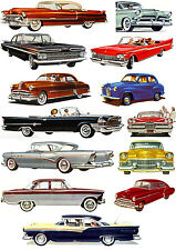 "Stickers (13 pics 2x4"" each) FLONZ 441-0123 Classic Cars American Fifties"