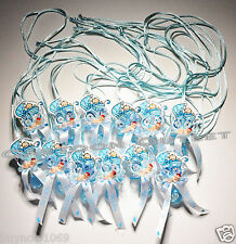 12PC BABY SHOWER FAVORS PACIFIER NECKLACES BABY BOY DECORATED BLUE 12 CARRIAGE