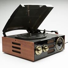 GPO Empire Turntable 3-Speed Black Retro Vintage Record Player Built-In Radio