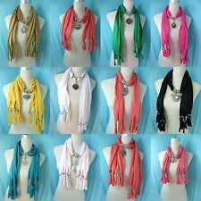 *US SELLER* lot of 5  wholesale jewelry scarf lot glass pendant necklace scarf
