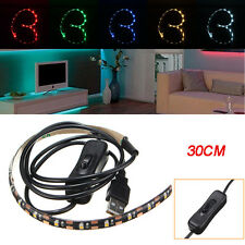 30CM SMD3528 LED Flexible Strip Tape Light USB Switch Lamp PC TV Background Ligh
