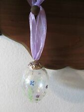 Russ? Floral Crackled Glass Easter Egg Ornament