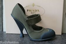 NIB PRADA Militare Gabardine Velcro Mary Jane Rubber Cap toe/heel Pumps Shoes 39