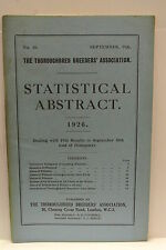 Book. Statistical Abstract. No. 18. September, 1926. Thoroughbred Breeders Asso.