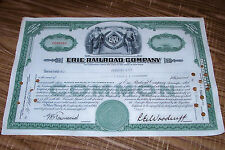 1950 Erie Railroad Company Stock Certificate Shares Vintage RR Train Locomotive