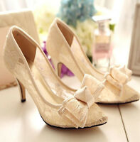 Ivory pink satin lace bow Wedding shoes point toe lace heels pumps Bridal size