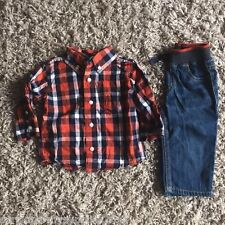 BABY BOYS OUTFIT JEANS & SHIRT 6-12 MONTHS BRAND NEW 100% COTTON